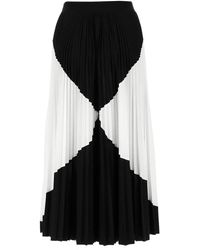 Valentino Two-tone Pleated Midi Skirt - Black