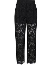 Dolce & Gabbana Floral Lace Suit Pants - Black