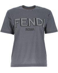 Fendi Logo Embroidered Check Print T-shirt - Blue