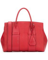 Miu Miu Logo Embossed Tote Bag - Red