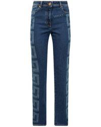 Versace Greca Straight-leg Jeans - Blue