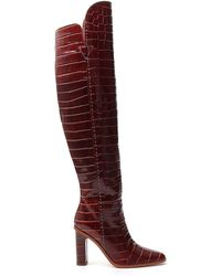 Max Mara Embossed Knee High Boots - Red
