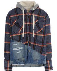 Greg Lauren Rainbow Striped Check Hoodie - Blue