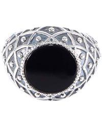 Emanuele Bicocchi Stone Rhombus Engraved Ring - Black
