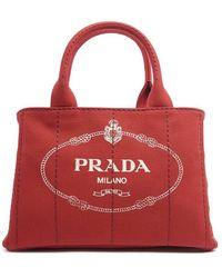 Lyst - Prada Canvas Mini Logo Tote in Natural 8cf622954b