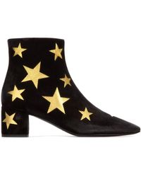 Saint Laurent Ankle Boots Lou 50 Nappa Leather Star Pattern Black Gold