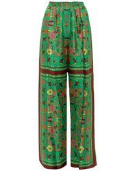 Tory Burch Scarf Print Pants - Green