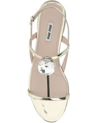Miu Miu Crystsal Embellished Sandals - Metallic