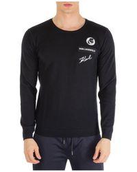 Karl Lagerfeld Crew Neck Neckline Sweater Sweater Pullover - Black