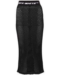 Off-White c/o Virgil Abloh Logo Fishnet Skirt - Black