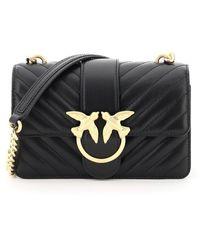 Pinko Love Mini Classic Icon Bag Chevron Quilting - Black