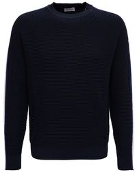 Moncler Side-striped Logo Patched Sweater - Blue