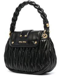 Miu Miu Matelassé-effect Shoulder Bag - Black