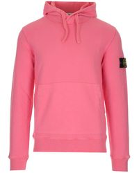 Stone Island Logo Patch Hoodie - Pink