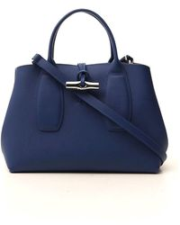 Longchamp Roseau Medium Top Handle Bag - Blue
