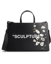 Lyst - Off-White c o Virgil Abloh Diag Leather Tote in Black 771ed8e082f12