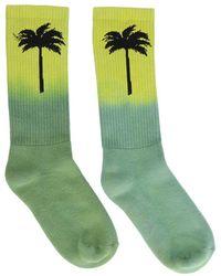 Palm Angels Palm Print Tie Dye Socks - Green