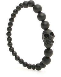 Alexander McQueen Skull Beaded Bracelet - Black