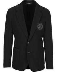 Dolce & Gabbana Monogram Embroidered Tailored Blazer - Black