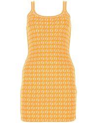 Fendi Ff Motif Mini Sheath Dress - Yellow