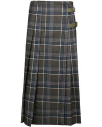 Max Mara Checked Pleated Midi Skirt - Multicolour