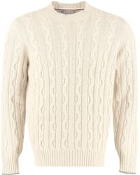 Brunello Cucinelli Cable-knit Crewneck Jumper - Natural