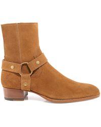 Saint Laurent Wyatt Harness Ankle Boots - Natural