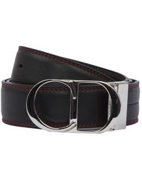 Dior Red Stitched Logo Buckle Belt - Black