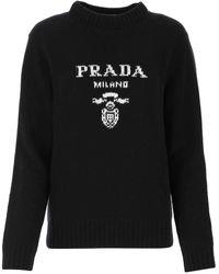 Prada Logo Intarsia Knit Sweater - Black