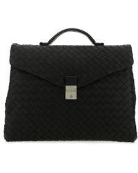 Bottega Veneta Woven Briefcase - Black