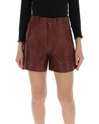 Ganni High-waisted Leather Shorts - Red