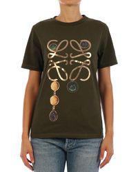 Loewe Anagram Brooch Print T-shirt - Green