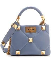Valentino Garavani Roman Stud Small Top-handle Bag - Blue
