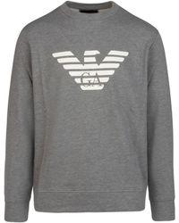 Emporio Armani Logo Print Long-sleeved Sweatshirt - Grey