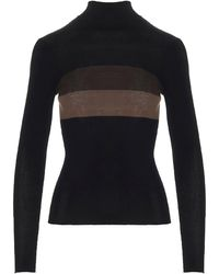 Fendi Contrasting Stripe Roll Neck Sweater - Black