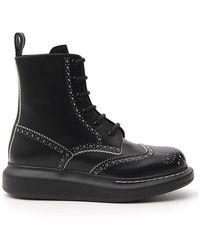 Alexander McQueen Brogue Lace-up Boots - Black