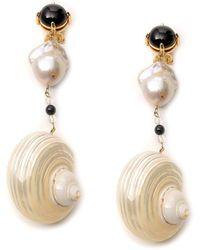 Prada Shell Earrings - Metallic