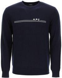 A.P.C. Eponyme Jumper Logo Intarsia L Cotton,cashmere - Blue