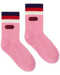 Gucci - Rubber Stamp Contrast Stripe Socks - Lyst