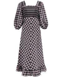 Ganni Square Neck Tartan Dress - Multicolour