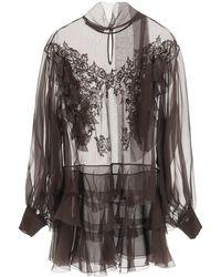 Valentino - Chiffon Blouse With Lace 40 Silk - Lyst