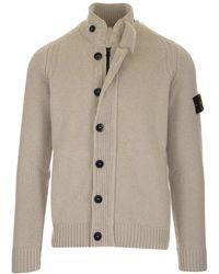 Stone Island High-neck Knitted Cardigan - Grey
