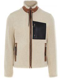 Loewe Zip Front Shearling Jacket - Natural