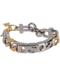 DSquared² Two-tone Logo Chain Bracelet - Metallic