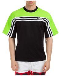 Gcds Men's Short Sleeve T-shirt Crew Neckline Jumper Track - Black