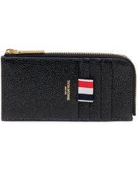 Thom Browne Pebbled Half-zip Around Wallet - Black