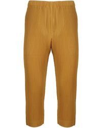 Homme Plissé Issey Miyake Pleated Cropped Trousers - Yellow