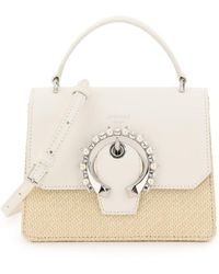 Jimmy Choo Madeline Satchel Bag Small Pearls Buckle - Natural