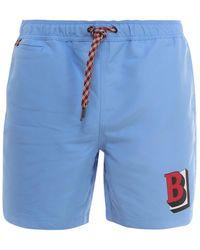 Burberry Logo Drawstring Swim Shorts - Blue