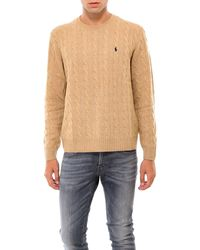 Polo Ralph Lauren Signature Logo Embroidered Cable Knit Sweater - Brown